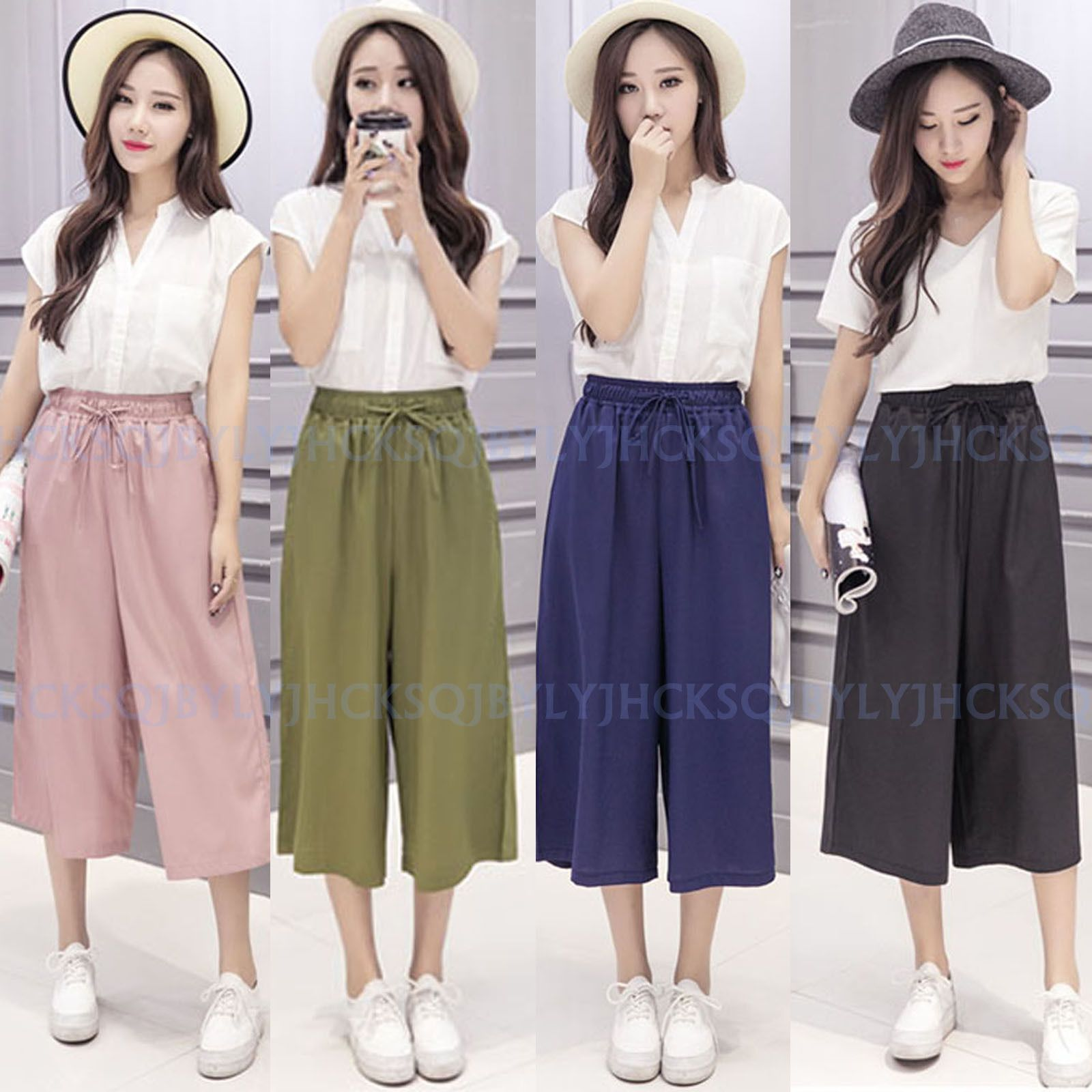 Summer Women Girls Chiffon Casual Loose Wide Leg Cropped Trousers Dress Pants Summer Trends Outfits Fashion Simple Outfits [ 1600 x 1600 Pixel ]