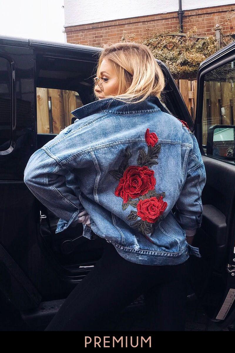 Arizona Mid Wash Rose Applique Denim Jacket Painted Denim Jacket Denim Jacket Jackets [ 1200 x 800 Pixel ]