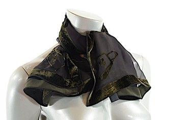 "Sonia Rykiel SONIA RYKIEL Black/Olive Silk Blend Burnt Velvet Scarf - BEAUTIFUL - 36"" x 34"""