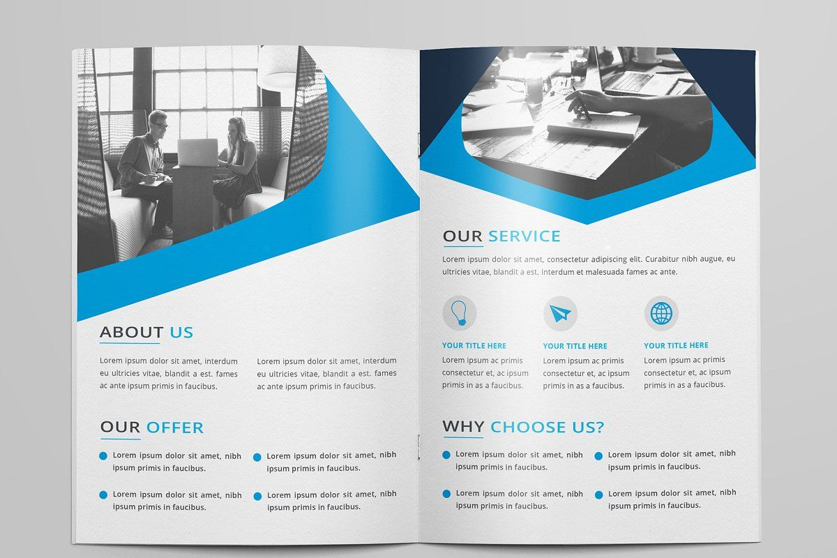 corporate bi fold brochure by design pick on creativemarket book
