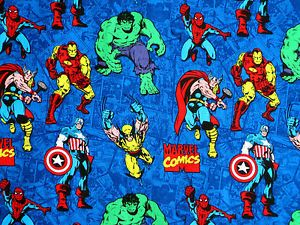 Marvel Comic Strip Cotton Fabric Super Hero Legion Of Heroes Superhero  Yardage