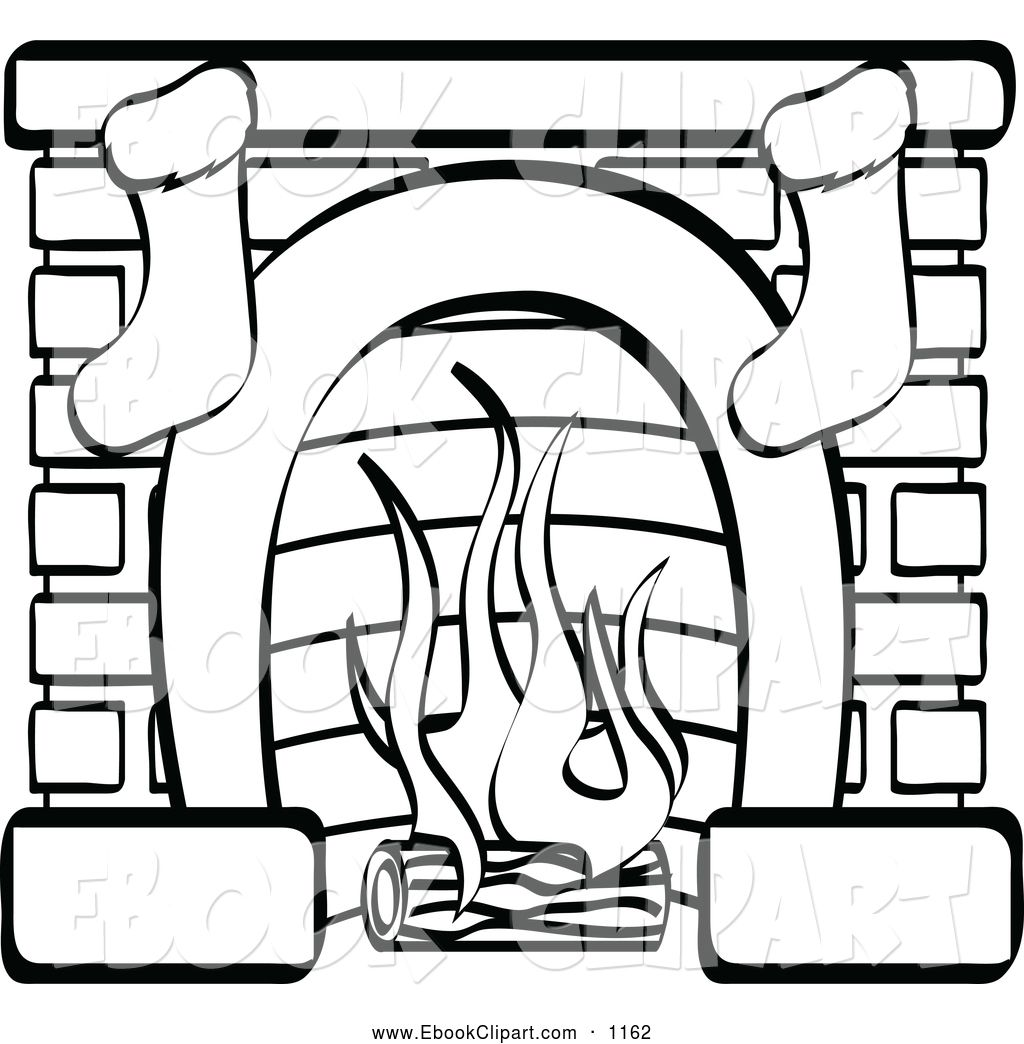 Vector Clip Art of a Black and White Fireplace with Two