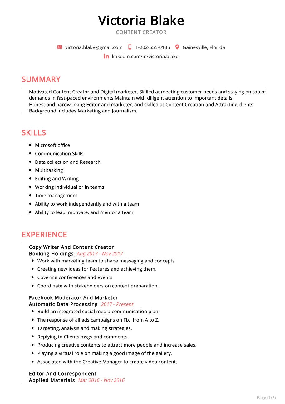 Content Creator Resume Example in 2020 Resume examples