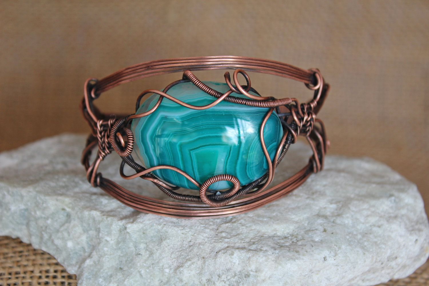 Teal Striped Agate Oxidized Copper Wire Wrapped Adjustable Cuff by ...