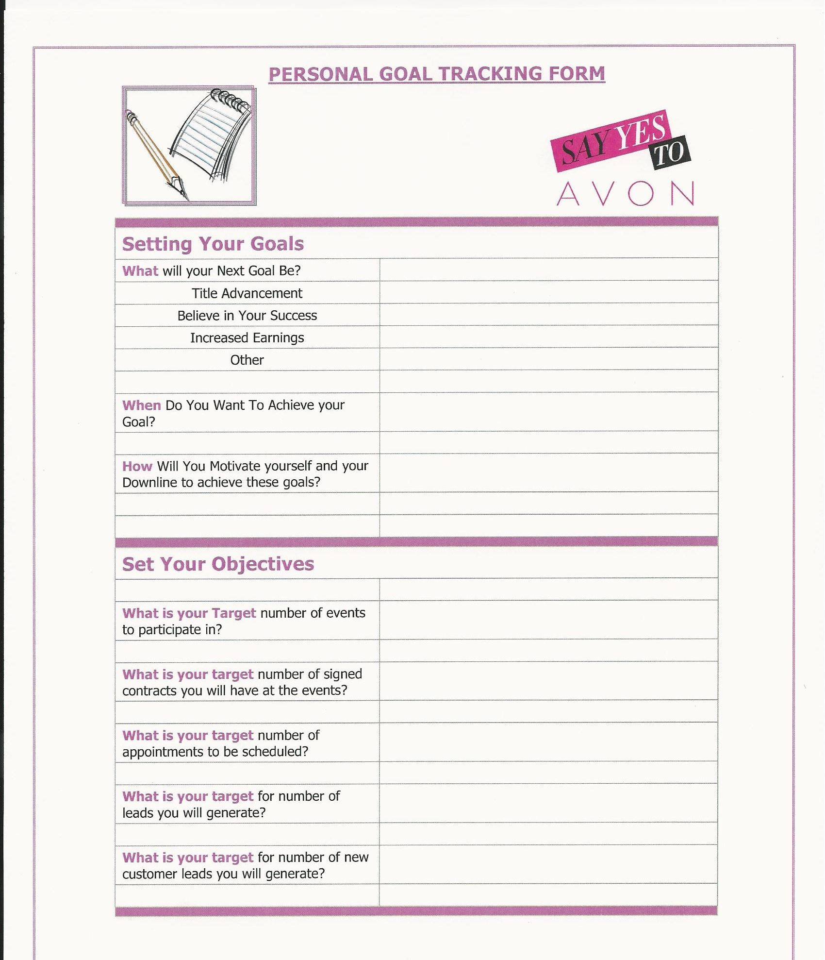 Avon Personal Goal Tracking Form With Images