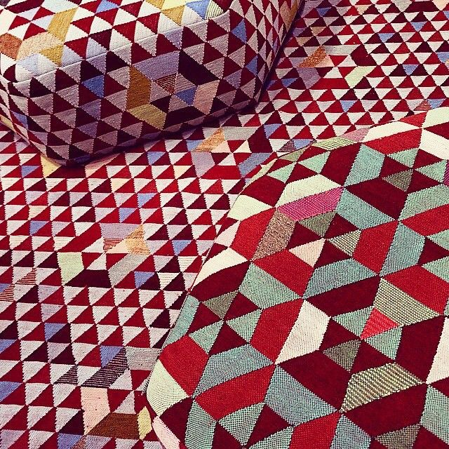 geometric patterns in red