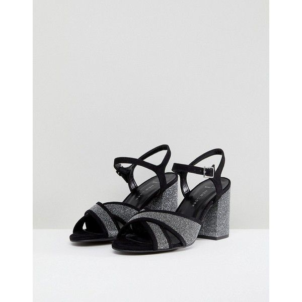 331f26cf148 New Look Wide Fit Cross Strap Glitter Low Block Heel Sandal (345 NOK ...