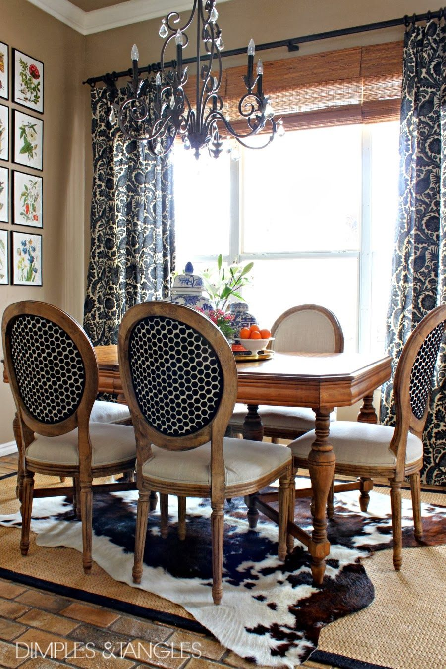 Dimples And Tangles My Thoughts On Cowhide Rugs Cowhide Rug Dining Room Rug Under Dining Table Dining Room Design