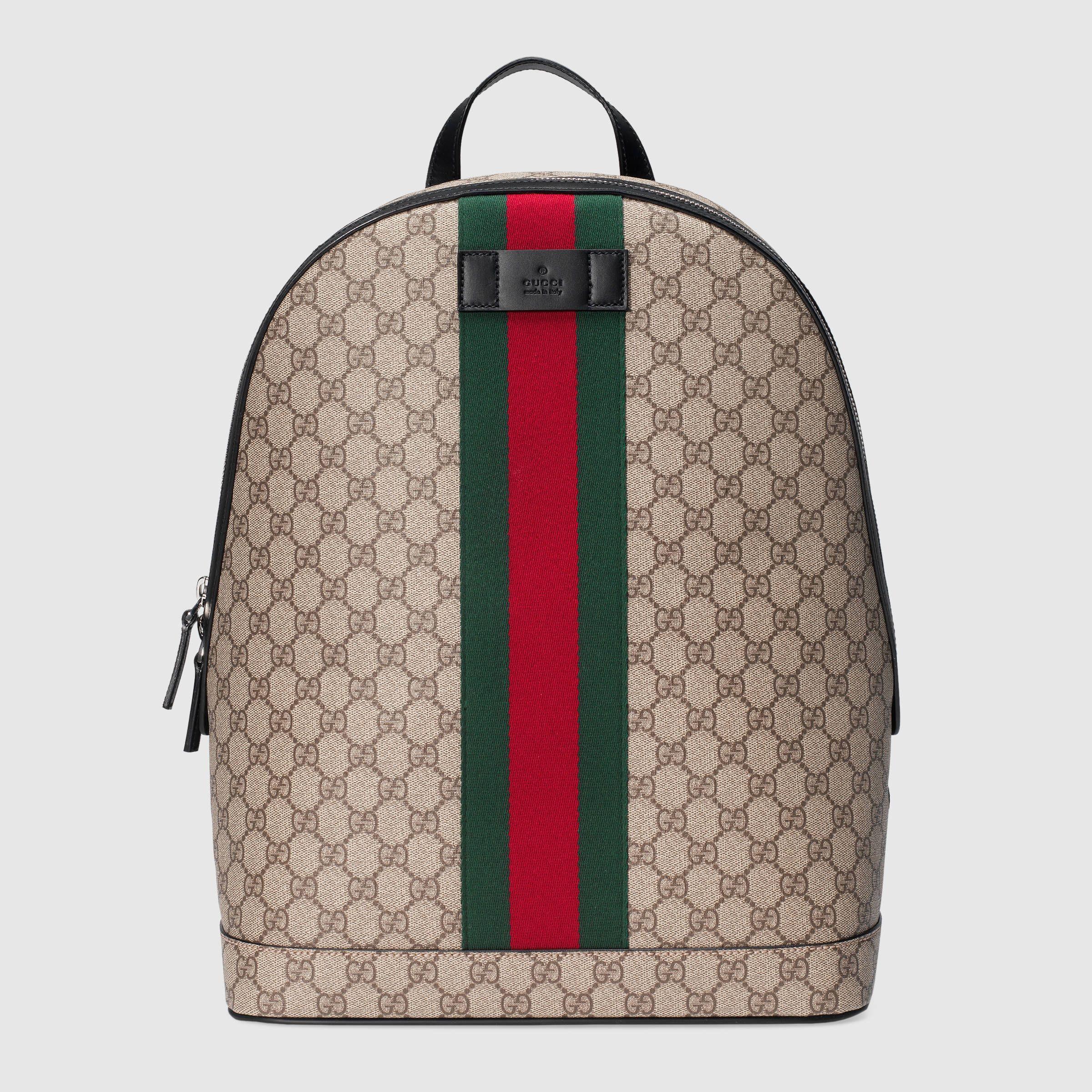 Sac à dos en toile Suprême GG avec ruban Web   Accessoire   Gucci ... fa6d3366674