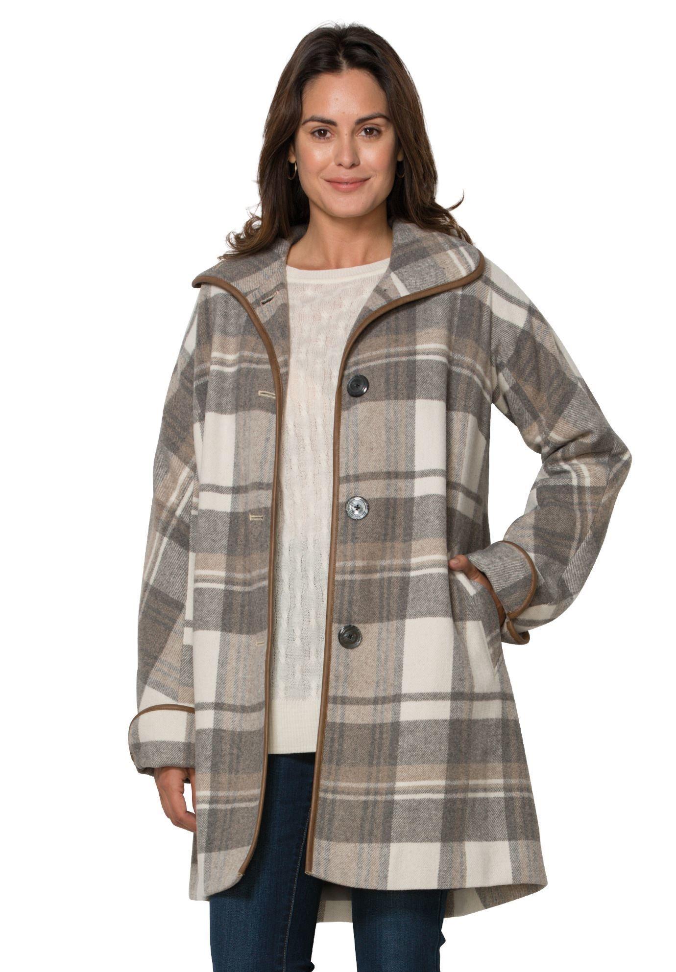 be120742dcd Faux leather trim wool coat - Women s Plus Size Clothing