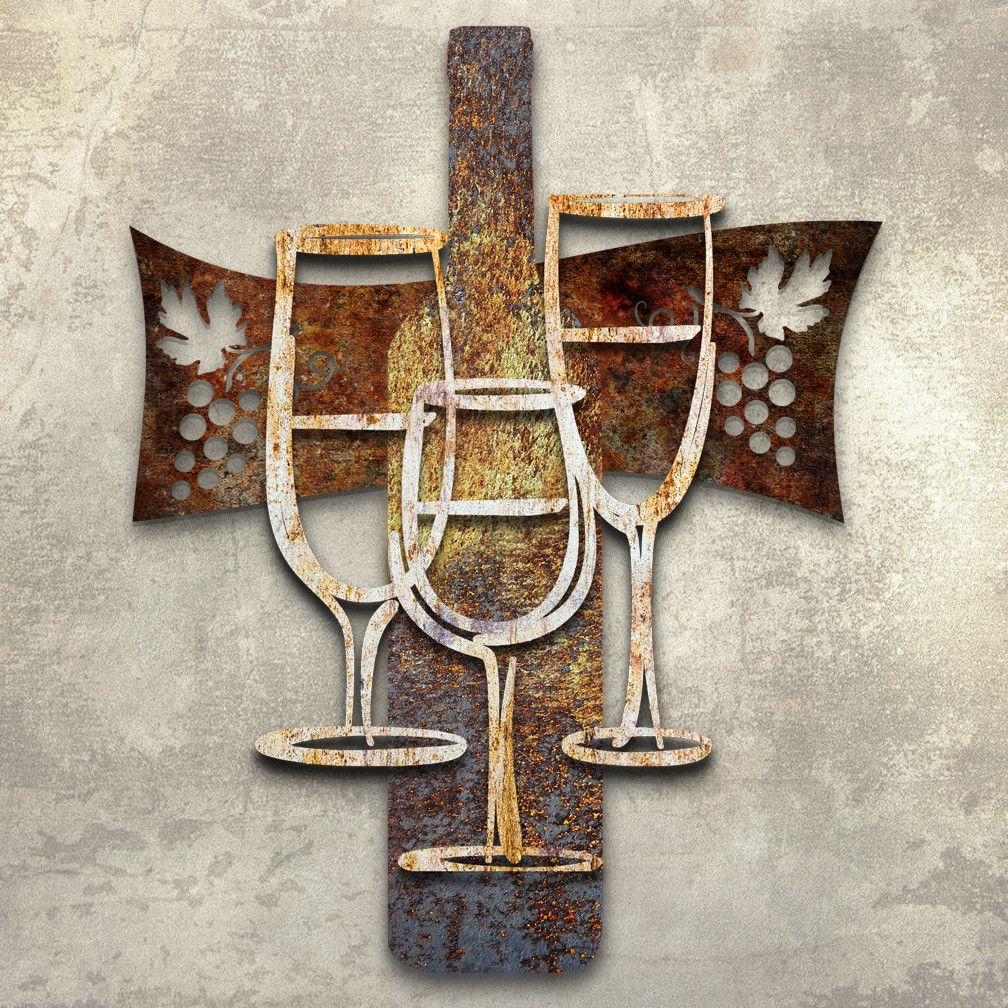 Wine time d metal wall art inches by inches house