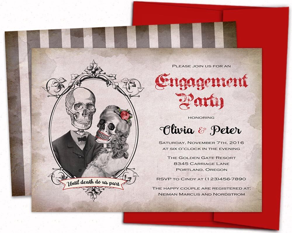 Day of the Dead Bridal Shower invitations Halloween Engagement