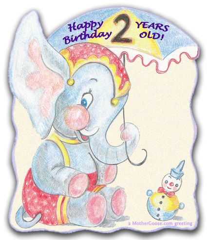Happy Birthday Baby Elephant!  free clip art for your creative projects from  www.MotherGoose.com
