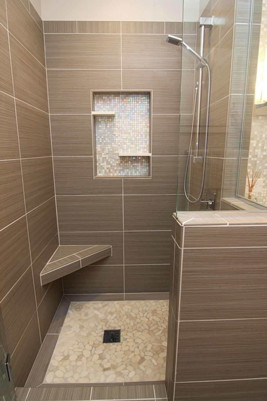Cool 75 Creative Shower with Mosaic Tile