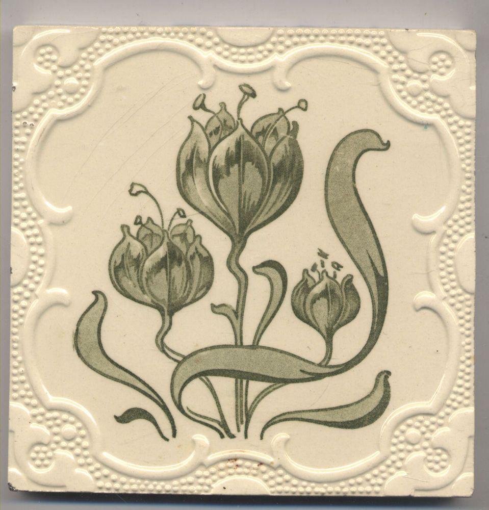 Super rare utzschneider blumen jugendstil fliese art nouveau tile art noveau jugendstil - Art deco fliesen ...