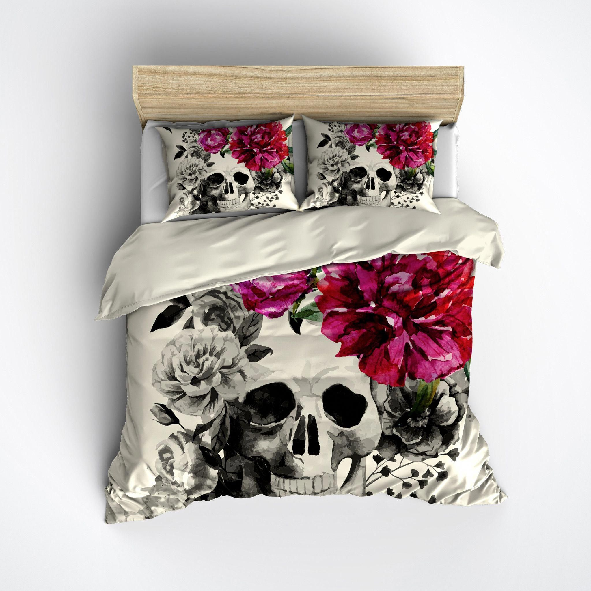 Pink Flower Watercolor Skull Bedding Cream Duvet Bedding Sets