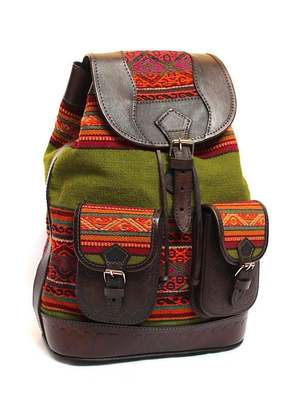 2630066ac 15% DESCUENTO* Mochila étnico Andina hecha a mano de Cuero Genuino y ...