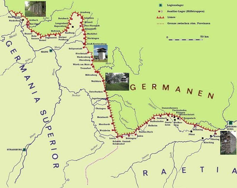 Der Obergermanisch Ratische Limes Karte Geschichte Landkarte Karten