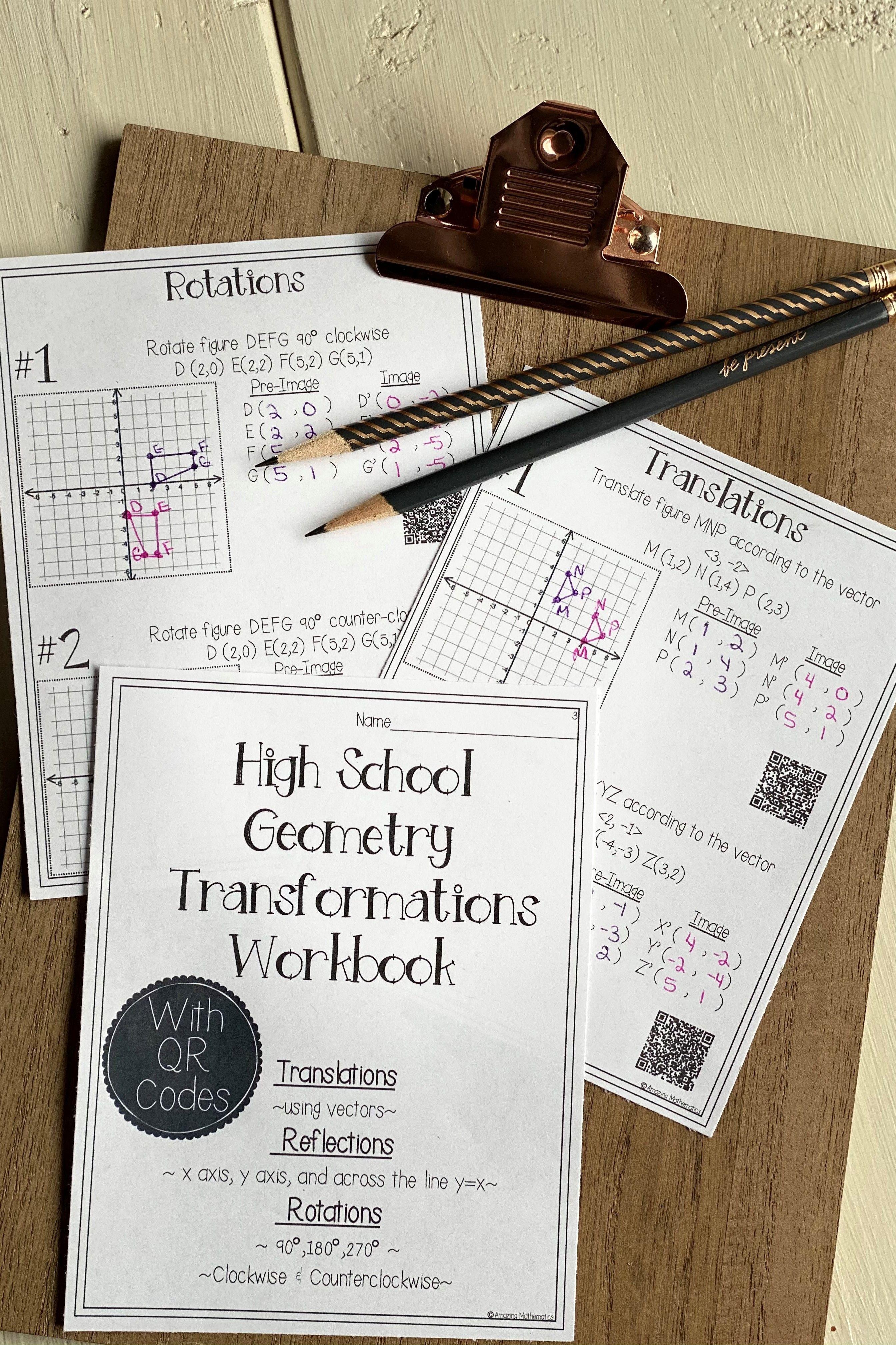 Hs Geometry Transformations Workbook Translations Rotations Reflections Hs Geometry Workbook Geometry Worksheets [ 4032 x 2688 Pixel ]