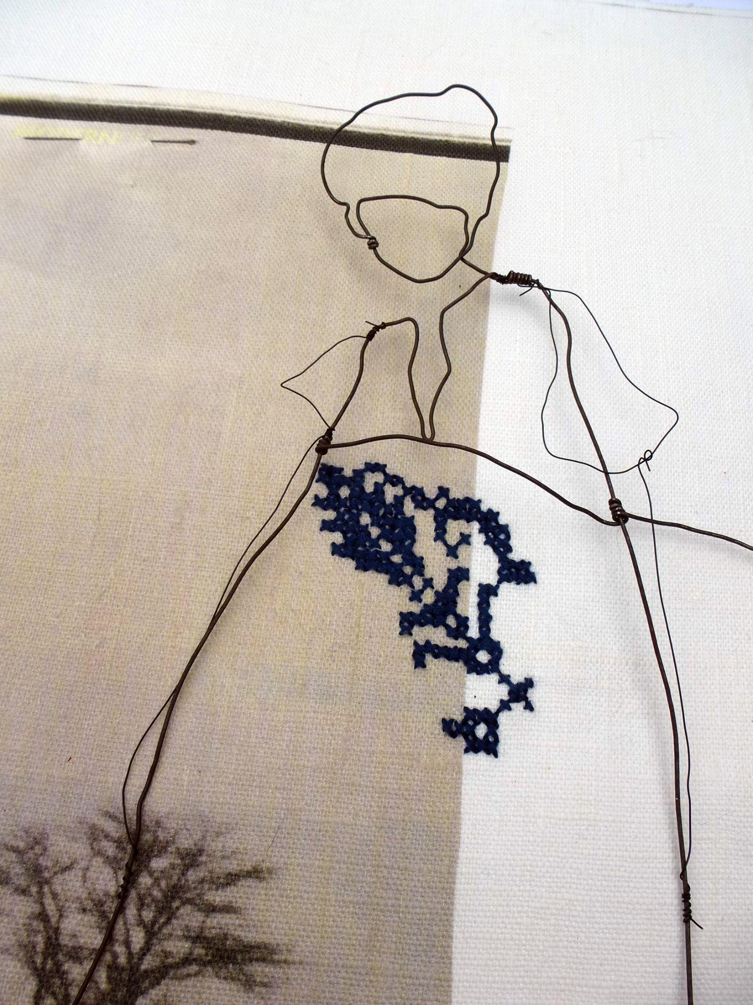 Julia Jowlett mixed media - wirework with stitchery on textiles