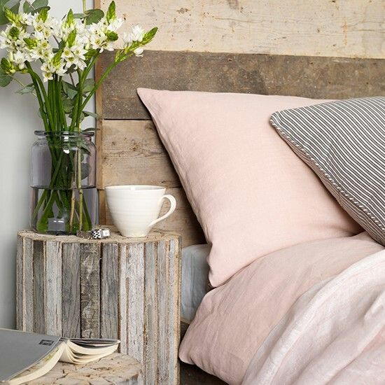 Grey And Pink Bedroom With Natural Wood Coastal Bedrooms Pink Bedroom Colour Schemes