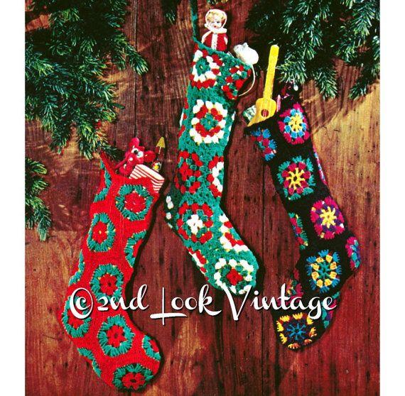 Vintage Crochet Pattern Granny Square Christmas by 2ndlookvintage ...