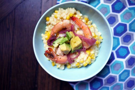 Corn Risotto with Poached Shrimp & Avocado by onehungrymama #Risotto #Corn #Shrimp #Avocado #onehungrymama