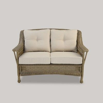 cambridge all weather wicker loveseat with cushions threshold in rh pinterest com