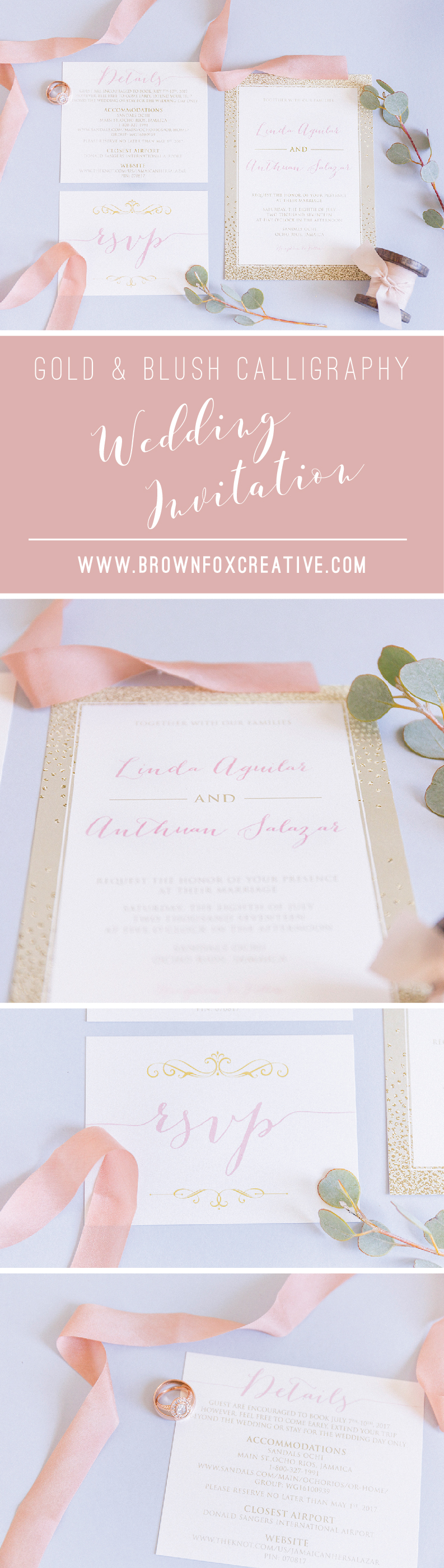 Blush Pink And Gold Looks Like Foil Wedding Invitation Suite With
