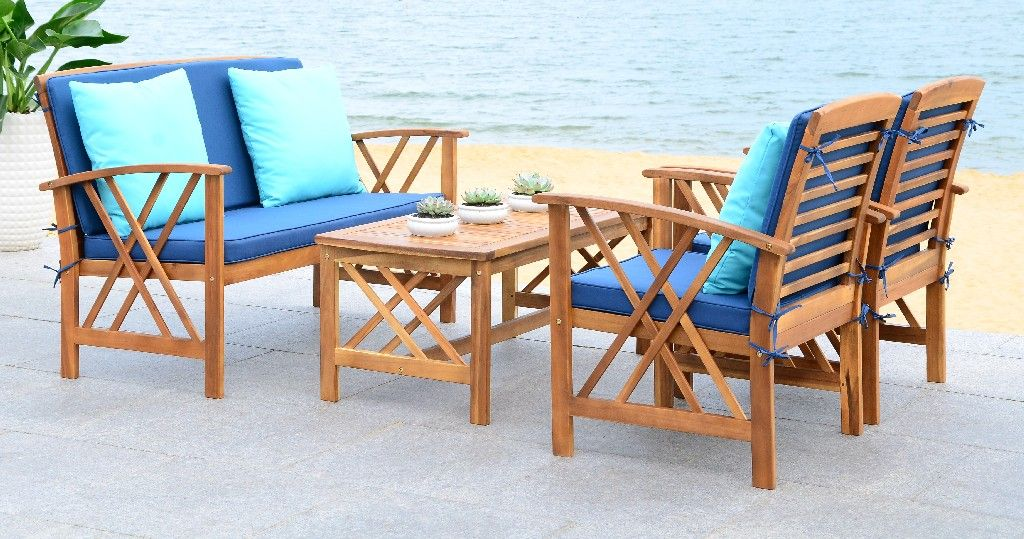 Fontana 4 Pc Outdoor Set in Natural Look/Navy - Safavieh ... on Fontana 4 Pc Outdoor Set  id=46543