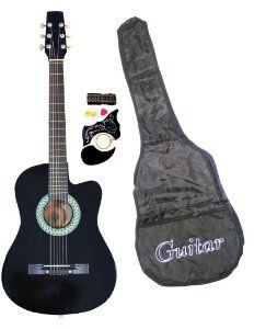 Amazon Com 38 Inch Student Beginner Blue Acoustic Cutaway Guitar With Carrying Case Accessories Directlycheap Guitar Guitar For Beginners Acoustic Guitar