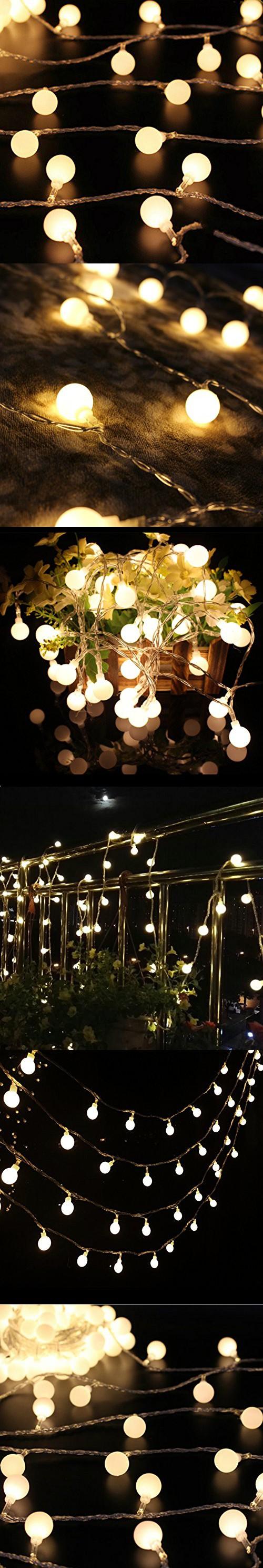 50 Leds 16 Feet Globe LED String Lights Starry Light Decorative for Gardens, Home, Wedding, Christmas Party (Warm White)