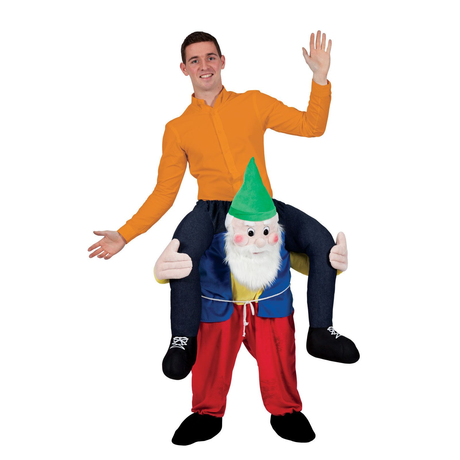 Ride On Garden Gnome Novelty Piggy Back Fancy Dress Up Party Costume Outfit  New