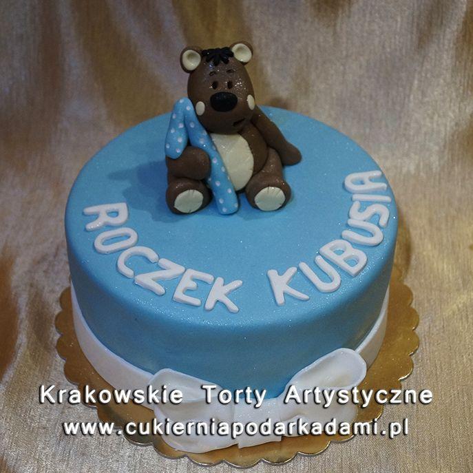 e72f8ed11dbe2a Niebieski tort z misiem na roczek. Blue cake with bear for 1st birthday.