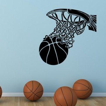 basket ball net sports wall art sticker wall decal basketball ball sports sports - Sports Wall Stickers For Bedrooms