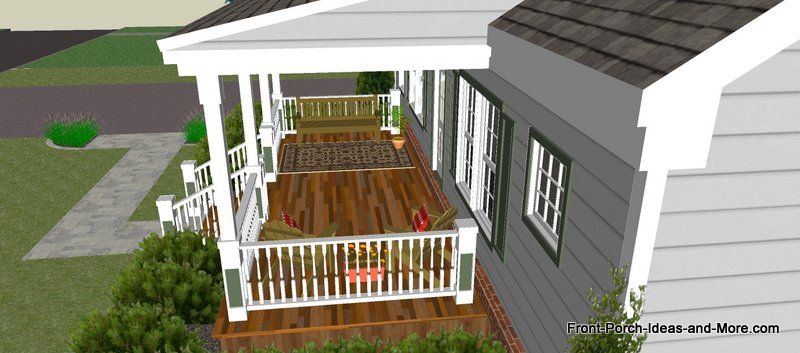 Great front porch designs illustrator on a basic ranch for Front porch ideas for ranch style homes