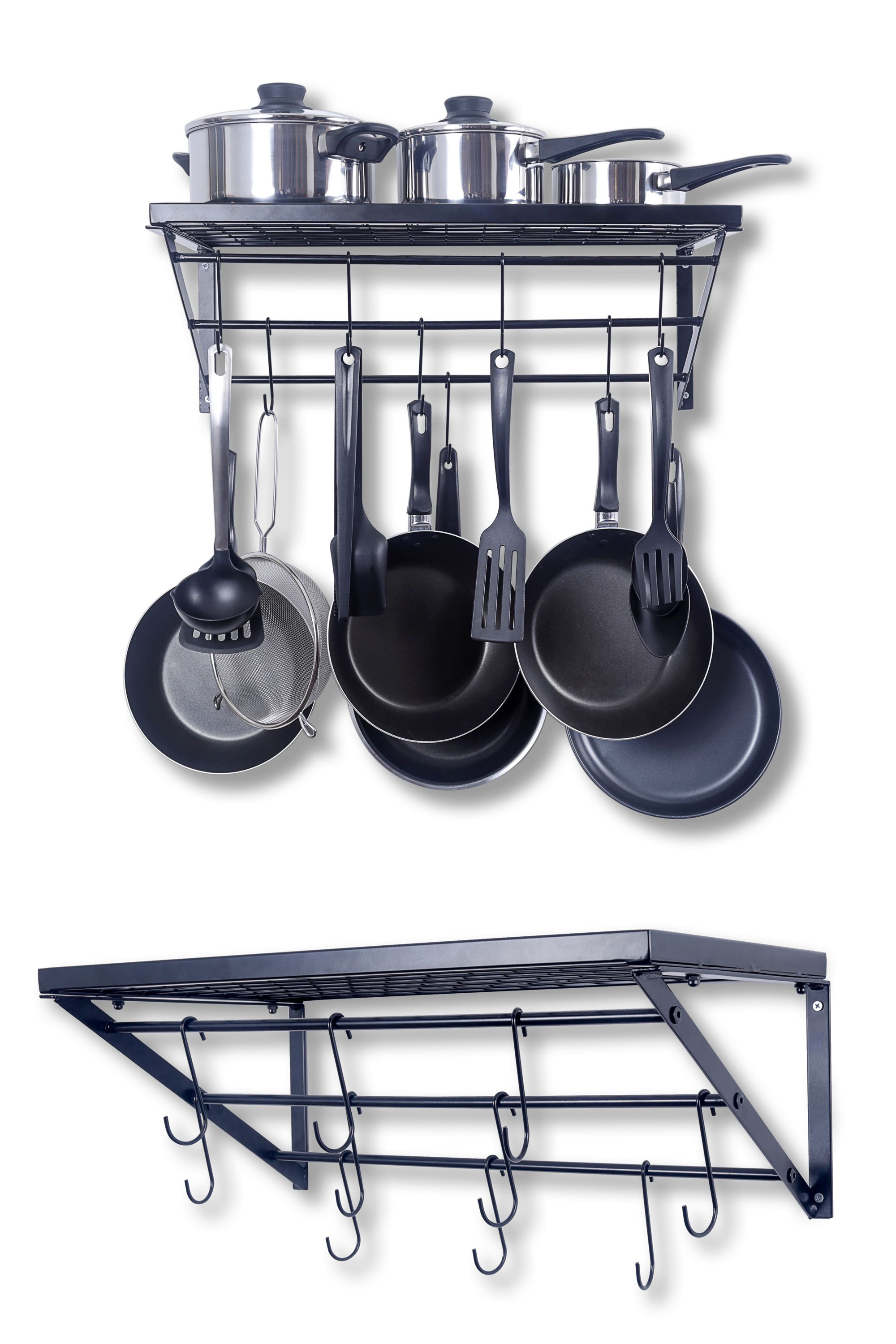 Kitchen Wall Pot Pan Rack with 10 Hooks Black