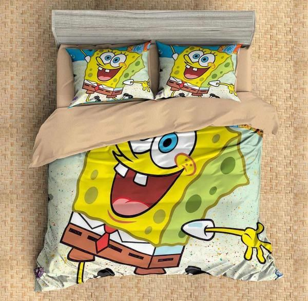 Customize Spongebob Squarepants Bedding Set Duvet Cover Bedroom Bedlinen Three Lemons Hometextile