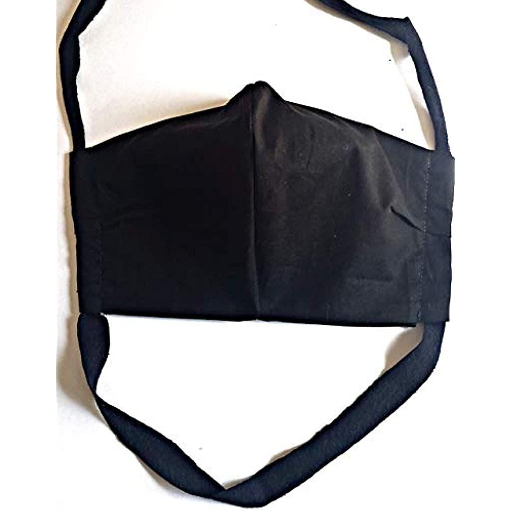 Face Mask Washable Cotton Black Handmade Adult Fitted Filter Pocket Reusable