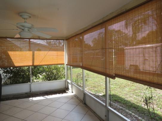 Lewis Hyman Tan Woodgrain Interior/Exterior Roll Up Patio Sun Shade   96 In.