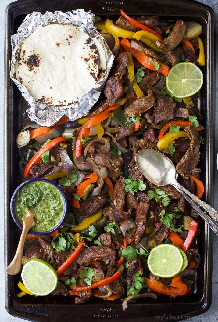 Sheet Pan Steak Fajitas #beeffajitarecipe