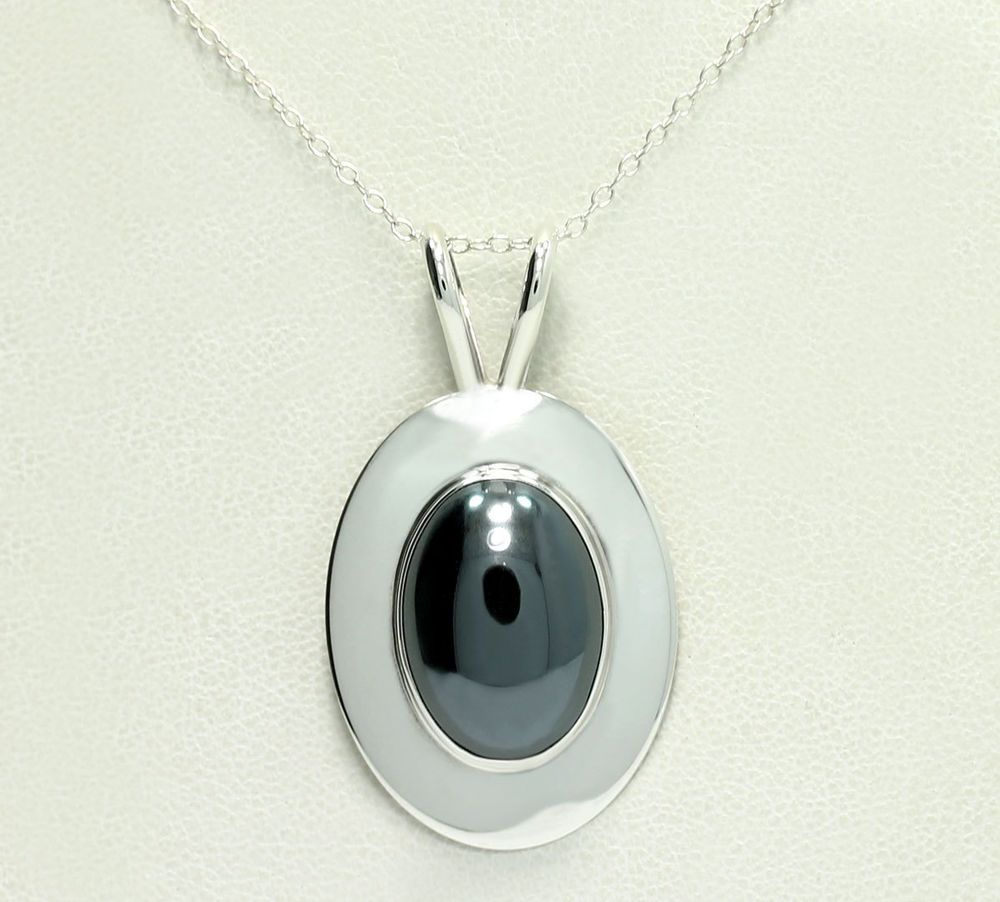 Sterling silver oval natural hematite cabochon pendant cable chain sterling silver oval natural hematite cabochon pendant cable chain necklace 18 fashion mozeypictures Gallery