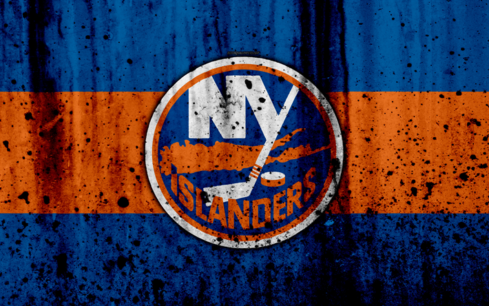 best service 29322 c4bf7 Download wallpapers 4k, New York Islanders, grunge, NHL ...
