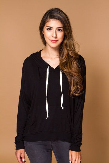 FOREIGN EXCHANGE   BASIC PULLOVER DRAWSTRING HOODIE - OUTERWEAR