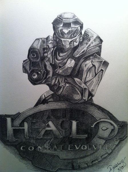 A nice pencil sketch of HALO game by forrster DAVID