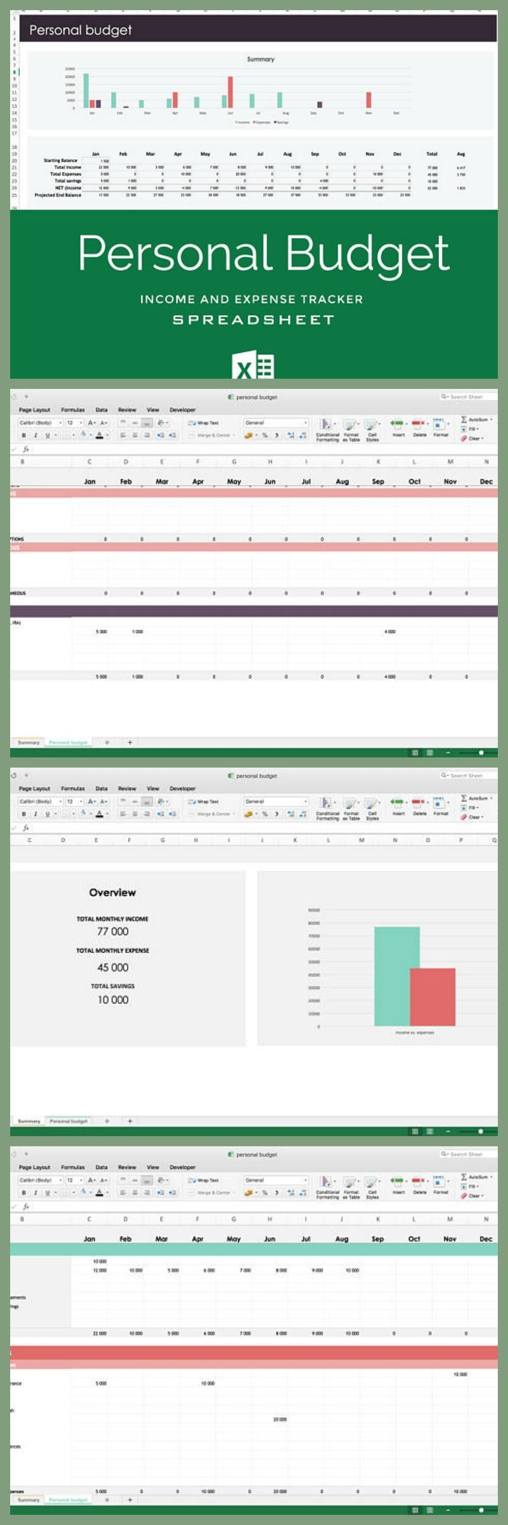 Budget spreadsheet Excel template for personal budget