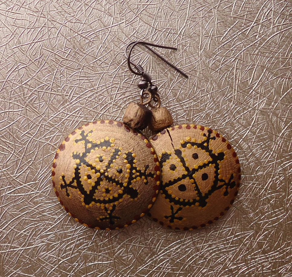 Wooden earrings with hand-painted. Ar-Mari Rubenian...