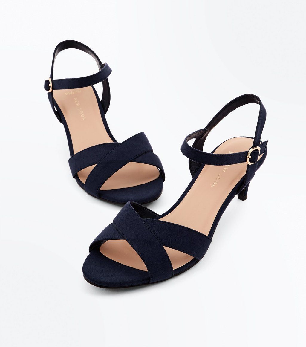 ef50ecc50f Wide Fit Black Suedette Kitten Heel Sandals | Oscars | Kitten heel ...