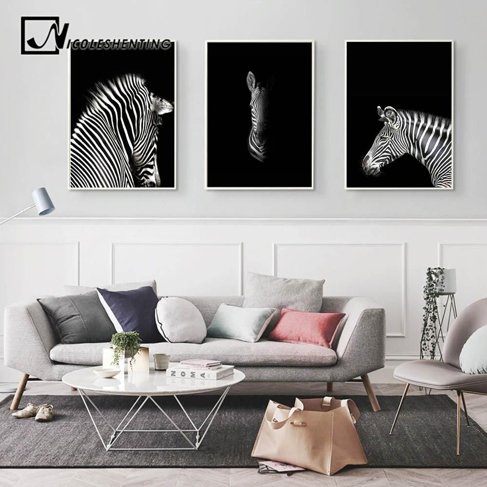 Black White Animal Zebra Wall Art Canvas Posters and Prints ...