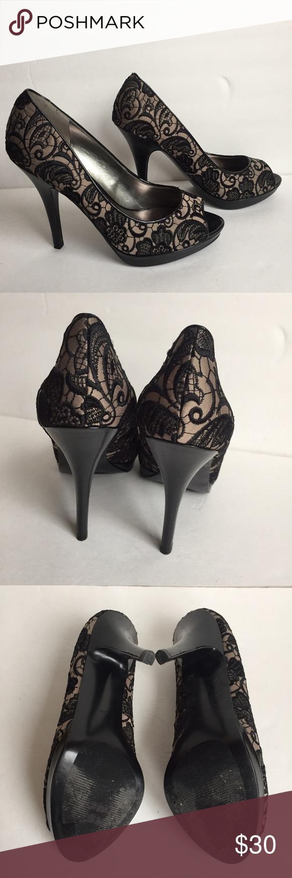 d1cc76a0f03 GUESS platform Black lace peep toe Heels 👠 9 1 2 Elegant sexy platform  black